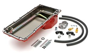 LS Swap Oil Pan/Filter Reocation Kit; Single Filter; Vertical Port, Red Pan