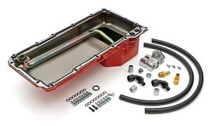 LS Swap Oil Pan/Filter Reocation Kit; Single Filter; Horizontal Port, Red Pan