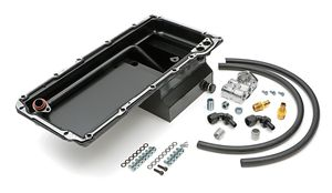LS Swap Oil Pan/Filter Reocation Kit; Single Filter; Horizontal Port; Black Pan