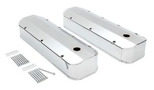 FABRICATED ALUMINUM VALVE COVERS CHROME BBC WITH HOLE