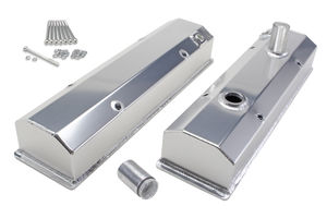 Fab. Aluminum Valve Covers; CHEVY SB(58-86);Circle Track;REMOVABLE Tubes-BRUSHED