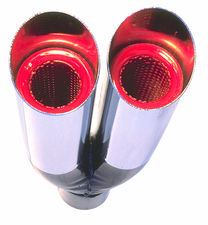"Dual Resonator HOT TIPS Exhaust Tip; 2-1/4"" System; 9"" Long; 2-1/4"" Out-CHROME"
