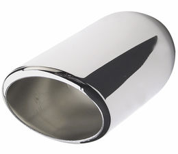 "ROUND- Angled HOT TIPS Exhaust Tip; 2-1/2"" System; 9"" Long; 2-5/8"" Out-CHROME"