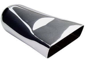 "FLAT- Angled HOT TIPS Exhaust Tip; 2-1/4"" System; 9"" Long; 3-7/8"" Out-CHROME"