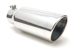 "EXHAUST TIP BOLT-ON; STAINLESS; 5"" I.D. X 6"" X 15""; DIESEL INTERCOOLER ANGLED"