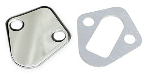 BB CHEVY FUEL PUMP BLOCK OFF PLATE; PLAIN- CHROME