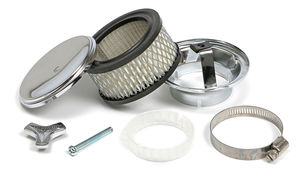 "Deep Dish Style Air Cleaner Set 4"" Diameter, 2"" Tall, 2-5/8"" Neck-CHROME"