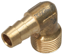 "90 deg. Fuel Hose Fitting; 3/8"" NPT to 3/8"" I.D.- BRASS"