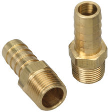 "Straight Fuel Hose Fittings (Pr); 3/8"" NPT to 1/2"" I.D.- BRASS"