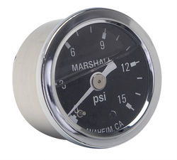 "FUEL PRESSURE GAUGE; 1-1/2"" Dia.; 0-15psi; 1/8NPT Threads -CHROME w/BLACK DIAL"