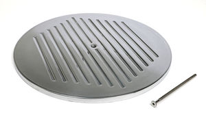 "14"" Round Polished Aluminum Air Cleaner Top; PINSTRIPES Ball-milling"
