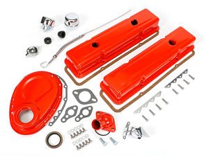 1958-86 SB CHEVROLET 283-350 ENGINE KIT WITHOUT PCV- CHEVY ORANGE POWDER-COATED