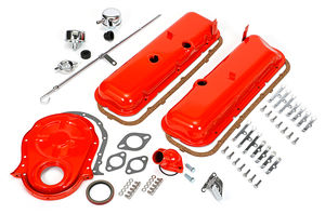 1965-95 BB CHEVROLET 396-454 ENGINE KIT WITH PCV- CHEVY ORANGE POWDER-COATED