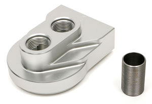 Remote Oil Filter Base; Single Filter; Vertical Port; M1-403- Billet Aluminum