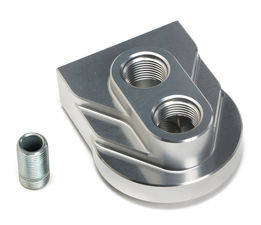 """LOW-PROFILE"" Remote Oil Filter Base; PH8A (or equiv); 12AN Ports- Billet Alum."