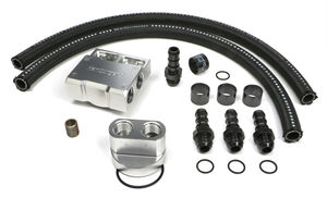 BILLET SINGLE OIL FILTER RELOCATION KIT- GM LS ENGINE & FORD 4.6L, 5.4L