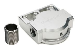 SINGLE Remote Oil Filter Base; Fits HP6; Flows Left to Right- Billet Aluminum