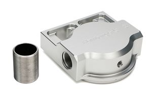 SINGLE Remote Oil Filter Base; Fits PH3786; Flows Left to Right- Billet Aluminum