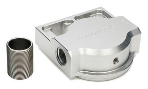 SINGLE Remote Oil Filter Base; Fits HP6; Flows Right to Left- Billet Aluminum