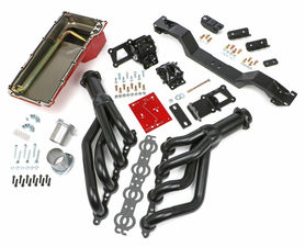 SWAP IN A BOX KIT-LS ENGINE INTO 70-74 F-BODY MANUAL TRANS. W/BLACK HEADERS