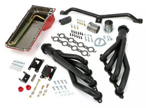 SWAP IN A BOX KIT-LS INTO 67-72 2WD GMC TRUCK AUTO TRANS; BLACK MAXX HEADERS