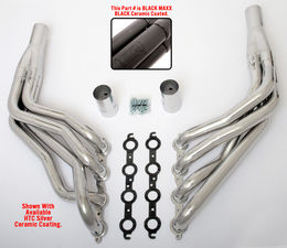 "LS in 1967-98 1/2 C10 Ton TRUCK (2WD) Headers; 1 3/4"" Dia, Long Tubes-Black Maxx"