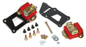 "LS IN SB CHEVY CHASSIS; LS ENGINE SWAP MOUNT KIT; 1 1/4"" BACK; POLYURETHANE PADS"