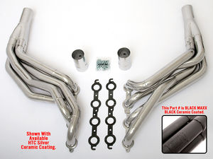 "LS in 82-83 FORD FOX Body Headers; 1 7/8""x2"" Dia, Stepped Long-Black Maxx"