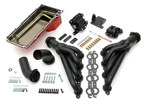 Engine Swap In A Box Kit; LS in 68-72 GM A-Body; TH350; Mid-Length- Black Coated