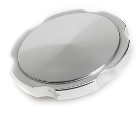 POLISHED ALUMINUM RADIATOR CAP WITH NOTCHED EDGE; 16 LB PRESSURE LIMIT