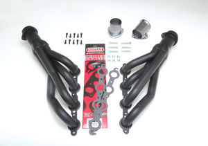 LS SWAP HEADERS; MID LENGTH; 67-87 CHEVY C10/C20 TRUCKS & SUVS- BLACK CERAMIC