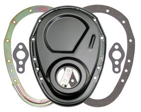 Asphalt BLACK 2-Piece Timing Chain Cover Set- SB Chevy V8 (not for LT1)