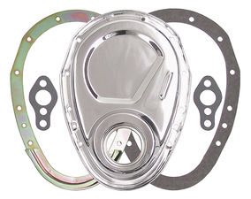 2-Piece CHROME Timing Chain Cover Set- SB Chevy V8 (not for LT1)