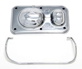"Brake Master Cylinder Cover; Early GM(1967-80); 3 x 5-5/8""; SINGLE Bail-CHROME"