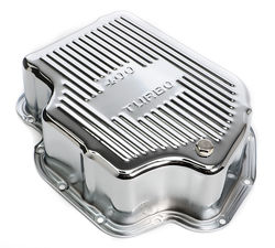 CHROME STEEL EXTRA CAPACITY TRANSMISSION PAN; FINNED; GM TURBO 400