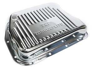 CHROME STEEL EXTRA CAPACITY TRANSMISSION PAN; FINNED; CHRYSLER 727