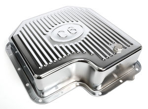 CHROME STEEL EXTRA CAPACITY TRANSMISSION PAN; FINNED; FORD C6