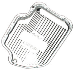 TH400-CHROME Transmission Pan; Stock Capacity; Stock Depth; FINNED Bottom
