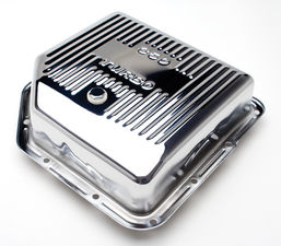 "TH350-CHROME Transmission Pan; Extra Capacity (+2 Qt); 3-1/2"" Depth; FINNED"