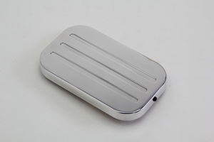 Brake Master Cylinder Cover; LATE Model GM CARS; Pinstripe Milled- POL. ALUMINUM