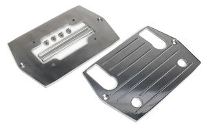 Optima RED TOP (4 post) Battery Tray; PINSTRIPED (ball-milled)-Billet ALUMINUM