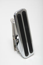 "Floor Mount Gas Pedal w/ Inserts; 6-1/2"" x 2""- CHROMED Aluminum and Stainless"