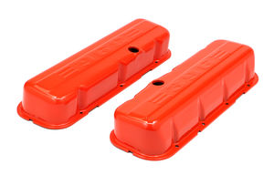 CHEVY 396 LOGO TALL ORANGE POWDER COATED VALVE COVERS