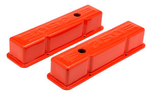 CHEVY 350 LOGO TALL ORANGE POWDER COATED VALVE COVERS