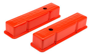 383 LOGO VALVE COVERS; TALL; 1958-86 SBC 238-400; BAFFLED- CHEVY ORANGE