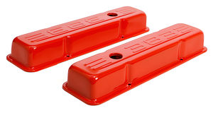 383 LOGO VALVE COVERS; SHORT; 1958-86 SBC 238-400; BAFFLED- CHEVY ORANGE