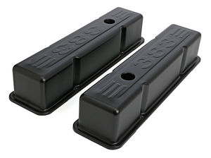 383 LOGO VALVE COVERS; TALL; 1958-86 SBC 238-400; BAFFLED- ASPHALT BLACK