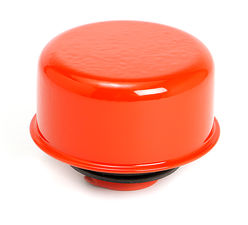 """TWIST-IN"" Style Breather Cap; 2-3/4"" Diameter- CHEVY ORANGE Powder Coated"