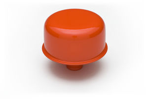 "3/4"" Neck PCV Breather Cap; 2-3/4"" Overall Diameter - CHEVY ORANGE Powder Coated"
