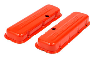 CHEVY 454 LOGO SHORT ORANGE POWDER COATED VALVE COVERS